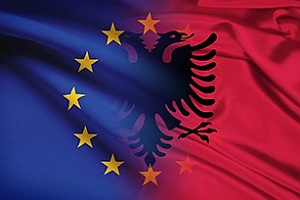 EU Albania Flags 300